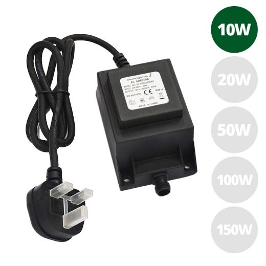 10w 12v AC IP68 open ended transformer with 1m of 3 core rubber cable & 3 pin UK plug