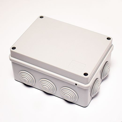 10 Way Junction Box with Rubber Grommets, Grey