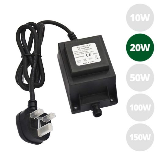 20w 12v AC  IP68 open ended transformer with 1m of 3 core rubber cable & 3 pin UK plug