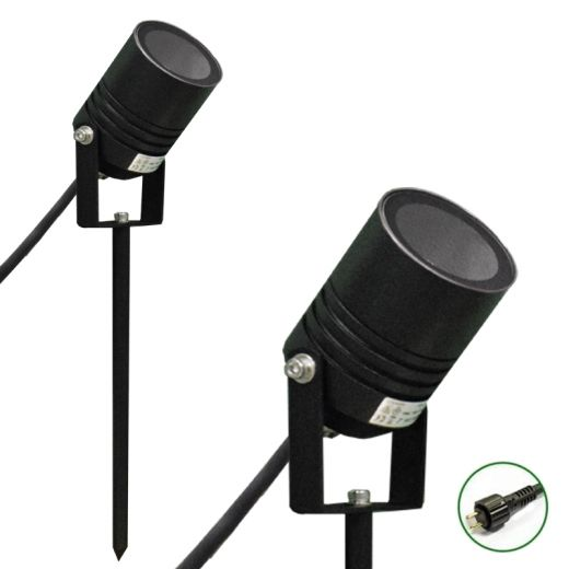 AlvaLED - Black 12v Powder Coated Aluminium IP65 MR16 Max 20w Spike Spotlight - Plug & Play
