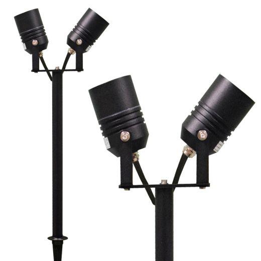AlvaLED – 240v - Black Aluminium IP65 Max Wattage 20w Per Bulb GU10 Twin Headed Spike Spotlight – In 4 Colours