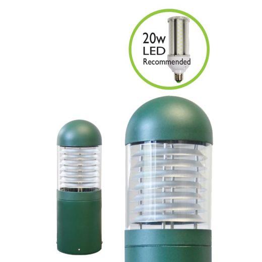 LEDifice - Aluminium Green Or Black IP65 E27 240v Surface Mount Bollard - Choice Of 4 Height & 3 Head Options & LED lamp