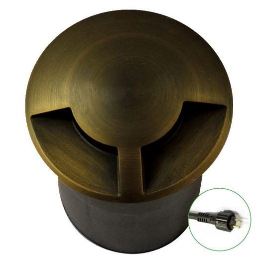 DuoMarka - 12v Rustic Bronze Brass Plug & Play MR16 IP67 Recessed Light 2 Windows 180 Degree Of Light