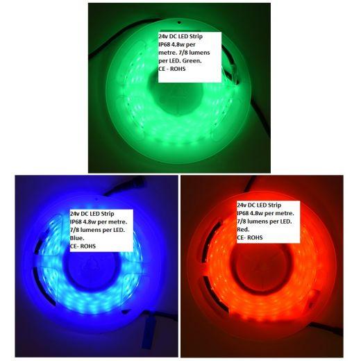 LEDIFLEX COLOURED LED STRIP LIGHTS KIT – RED, GREEN OR BLUE (DCONNECT 24V PLUG & PLAY)