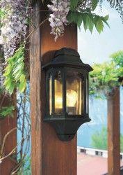 Traditional Half Lantern - 240v - Satin Black Die Cast Alluminium IP44 E27 Max 60w Wall Light - Lantern Light