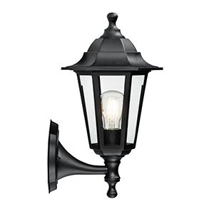 Bayswater - 240v - Black Polypropylene IP44 E27 Max 60w Wall Light - Lantern Light