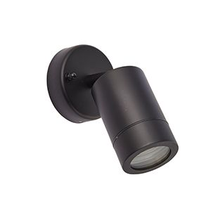 Palin 240v - Black Powder Coated Aluminium IP44 GU10 - Adjustable Spot Wall Light - Choice Of 3 Colours