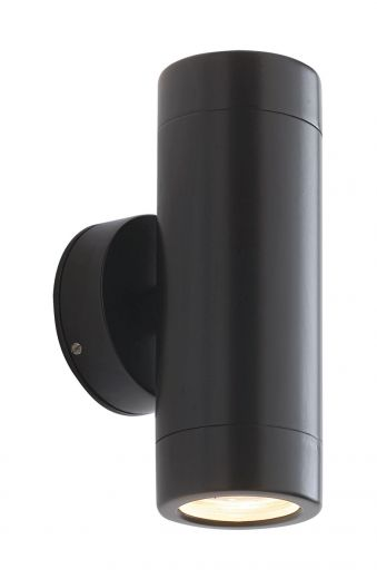 Odyssey, black powder coat, up and down wall light, IP44, 2 x 35w GU10
