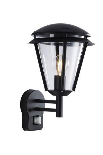 Inova PIR 240v - Matt Black Polycarbonate & 304 Stainless Steel E27 Max 60w IP44 Security Wall Light With PIR Sensor