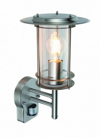 York - 240v - 304 Stainless Steel IP44 E27 Max 60w Wall Light With PIR Motion Sensor