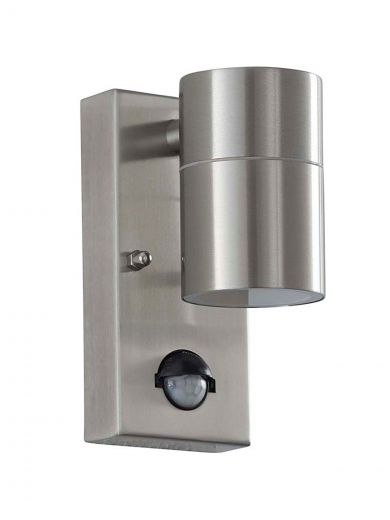 Canon Fixed Down Light 240v - Polished Stainless Steel IP44 GU10 Security Wall Light With PIR Sensor