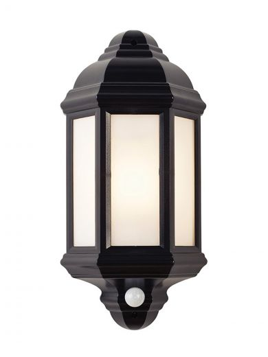 Halbury PIR Lantern 240v - Matt Black Polycarbonate E27 IP44 Security Wall Light With PIR Sensor