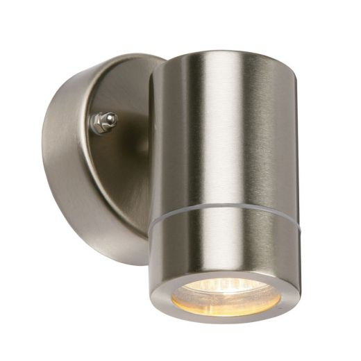 Palin, down only wall light, 201 brushed stainless steel, IP44, 35w GU10 mains 240v