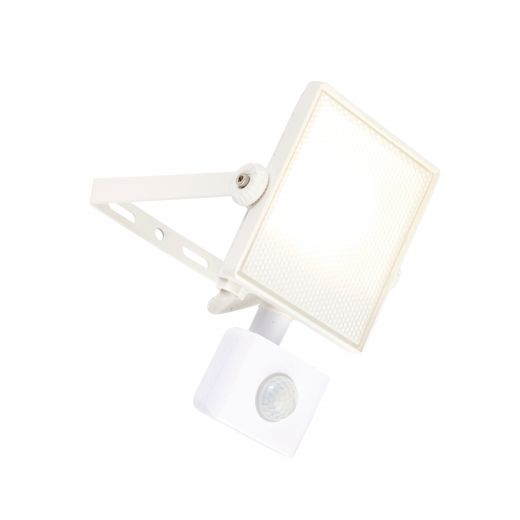 Scimitar - 240v - White - 10w IP65 Cool White 4000k 800 lumens - Floodlight With PIR
