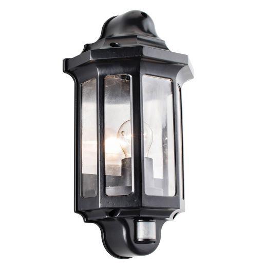 Traditional PIR Half Lantern 240v - Satin Black Polycarbonate E27 IP44 Security Wall Light With PIR Sensor