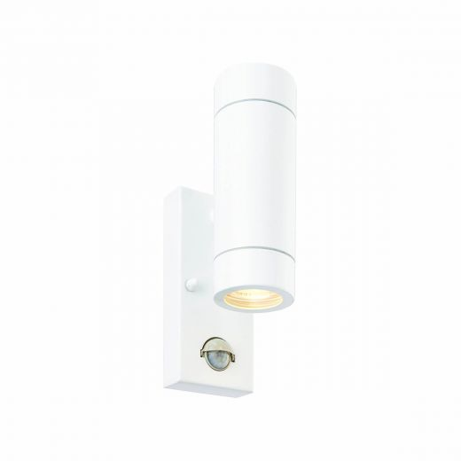 Palin Up/Down 240v - Gloss White IP44 2 x GU10 Security Wall Light With Manual override PIR Sensor