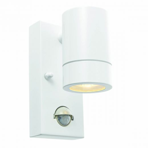 Palin Fixed Down Light 240v - Powder Coated White IP44 GU10 Security Wall Light With Manual Override PIR Sensor