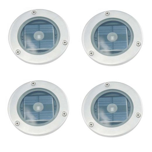Set Of 4 Solar Round Decking Lights or single deck light - IP65