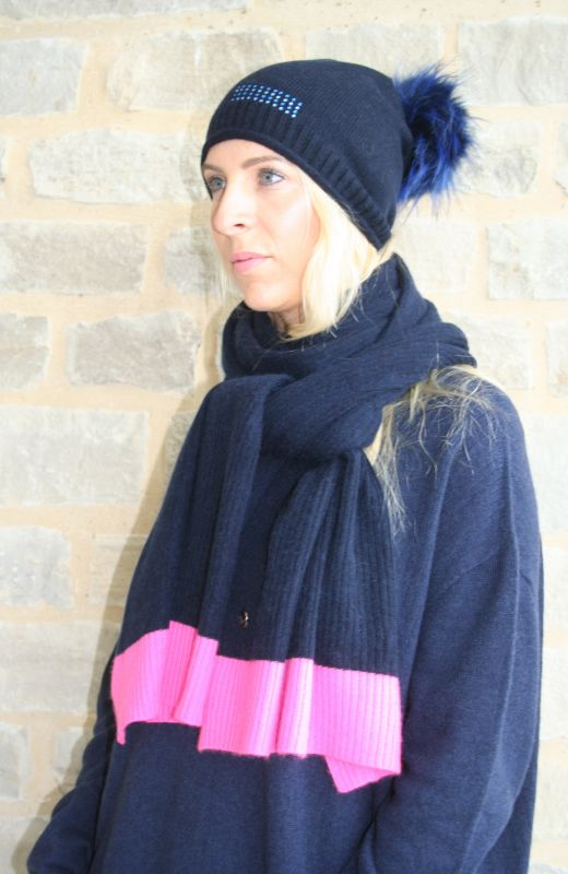 Roll edge  beanie with 5cm diamante rectangle two colour stripe embellishment and detachable faux fur pom in navy.