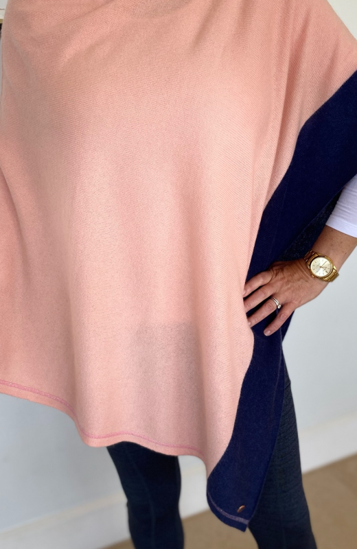 Pink and Navy Poncho