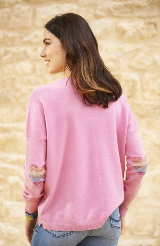 Pink boyfriend cashmere V neck with heart elbows patches