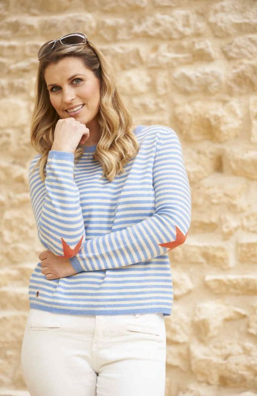 Hyacinth blue and cream striped boxy crew neck sweater with coral star elbows
