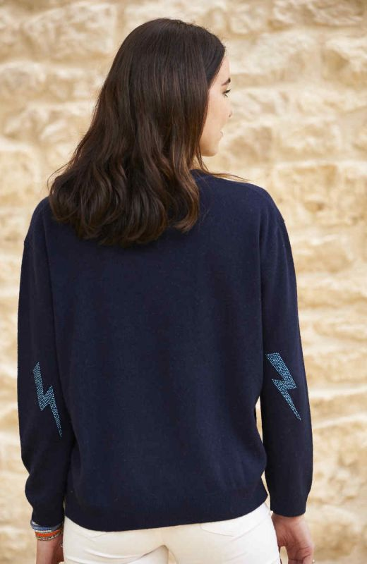 Navy cashmere sweatshirt with lightning elbow patches
