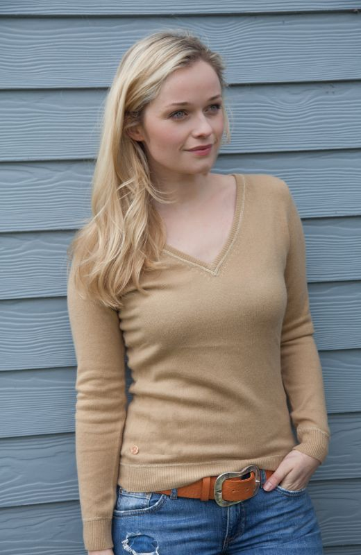 Camel v-neck sweater with gold star diamanté elbow patches