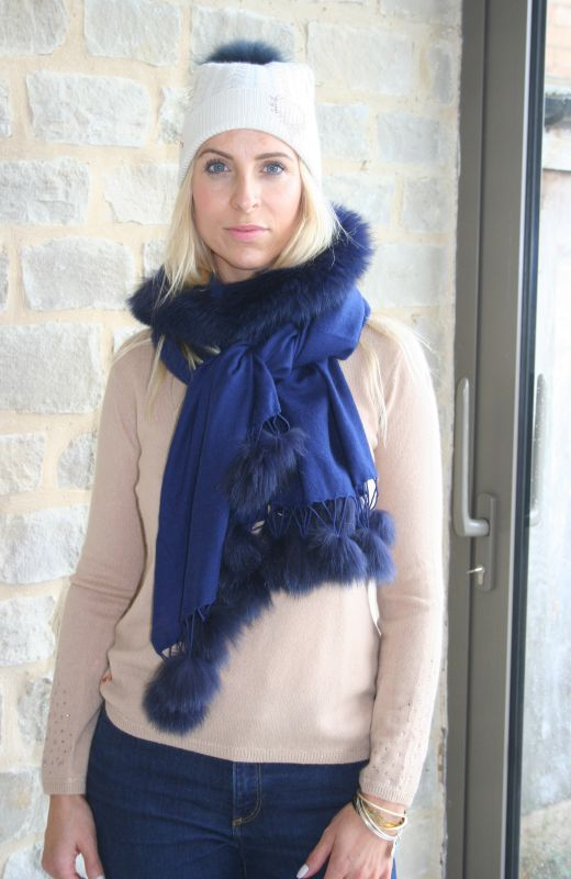 Navy wool and silk mix scarf with navy fur trim and fur pompoms