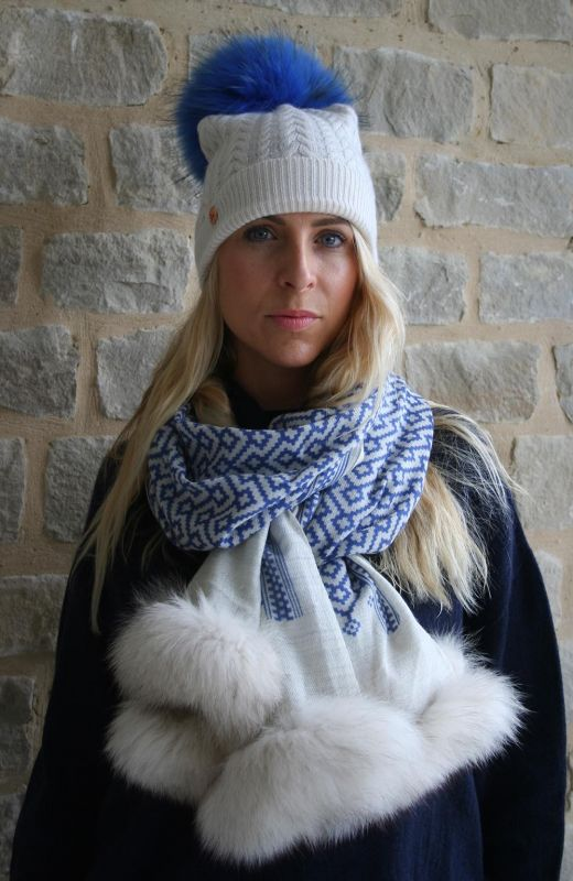 Wool blend blue and cream block print scarf with grey fur trim