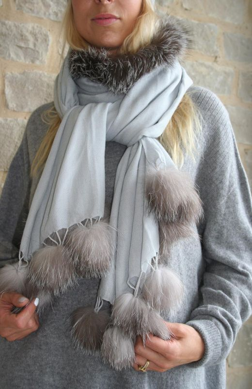 Silver grey wool and silk mix scarf with grey fur trim and fur pompoms