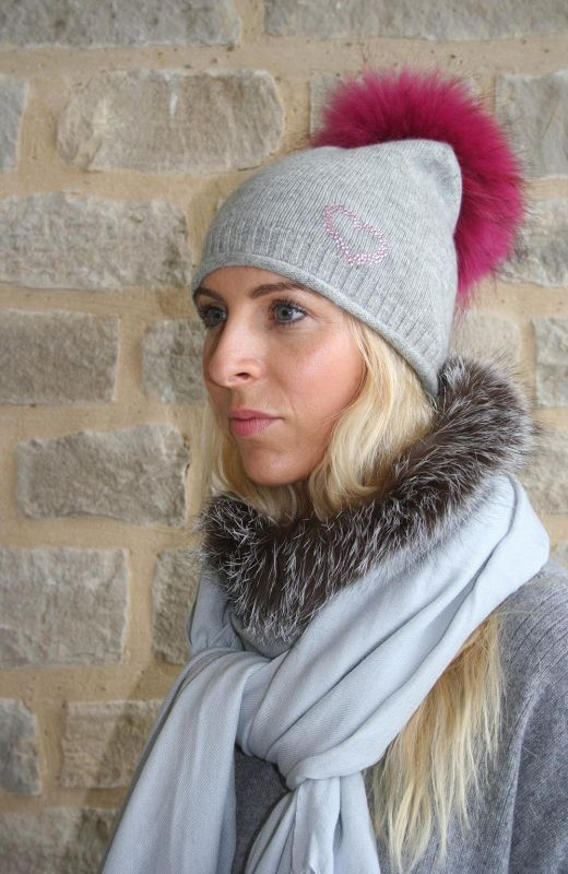 Roll edge rib detail  plain knit beanie with 4cm diamante heart embellishment and detachable real fur pom in grey.