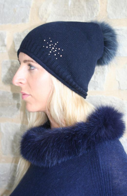 Roll edge rib detail  plain knit beanie with 4cm diamante starburst embellishment and detachable real fur pom in navy