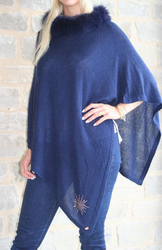 Fur trimmed cashmere poncho with 8cm starburst diamante embellishment in navy.