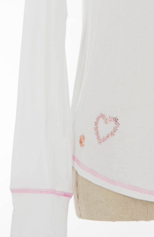 White long sleeved t-shirt with diamante pink heart embellishment