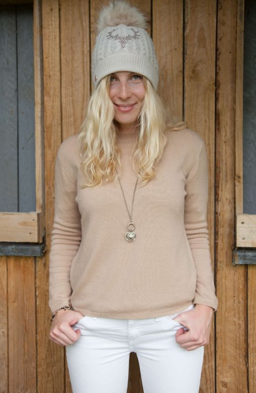 Camel 100% cashmere boxy crew with lurex stitch finish