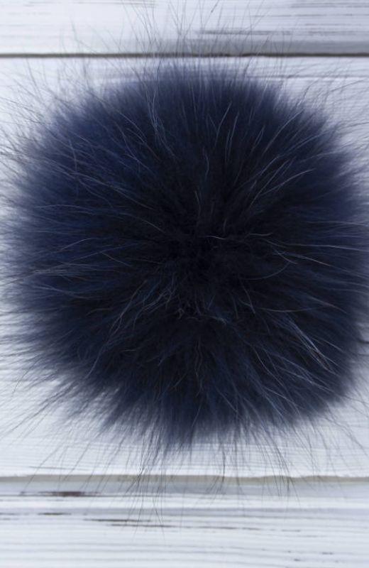 Extra Pompom? Luxury navy 12cm fur pompom