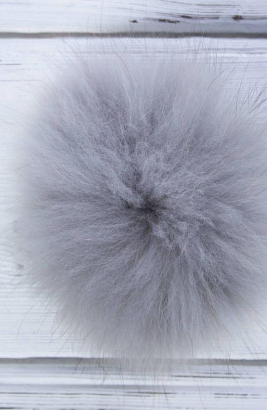 Extra Pompom? Luxury grey 12cm fur pompom