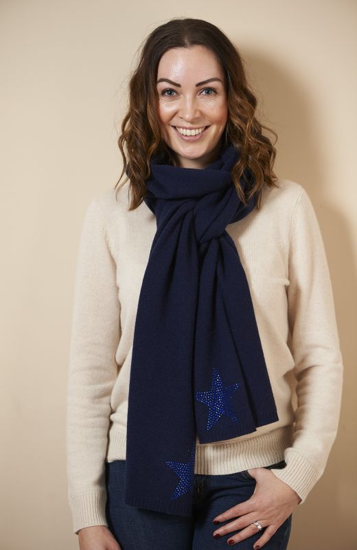 100% sustainable cashmere scarf with diamanté star
