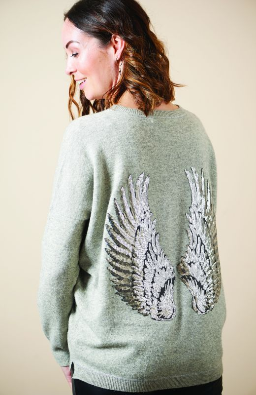 100% sustainable cashmere boyfriend crew neck with silver sequin angel wings