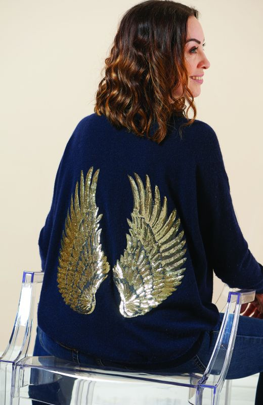 100% sustainable cashmere boyfriend crew neck with sequin angel wings