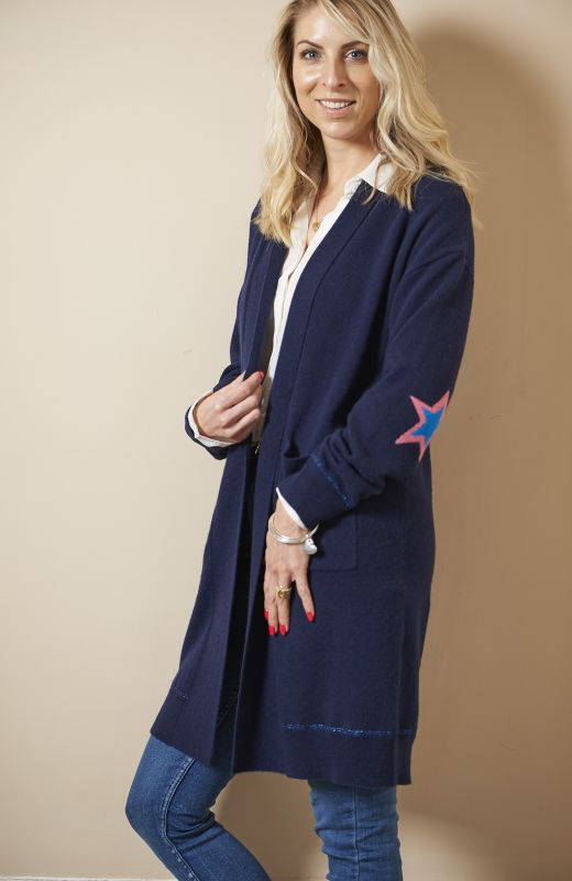 100% sustainable cashmere longline cardigan with intarsia star elbows
