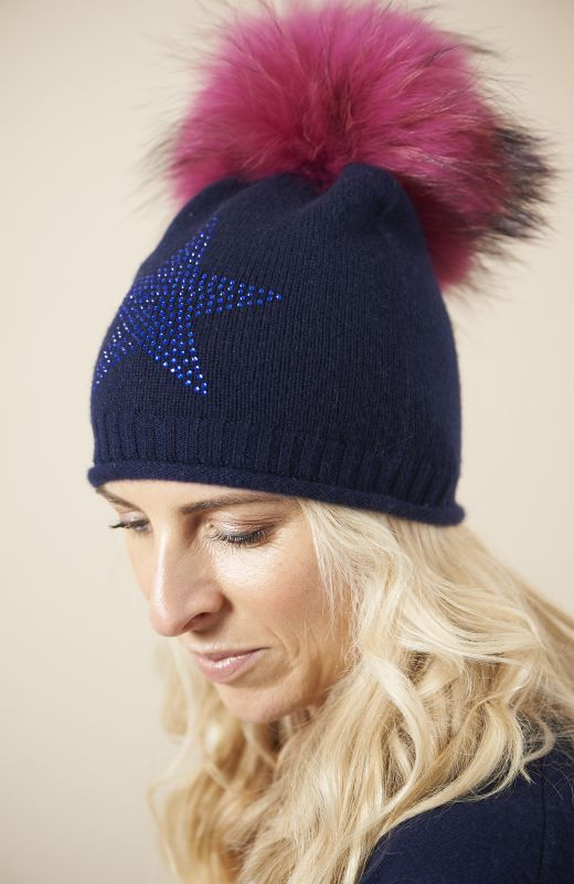 100% sustainable cashmere roll edge beanie with large diamanté star and fur pom