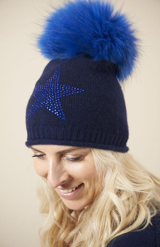 100% sustainable cashmere roll edge beanie with large diamanté star