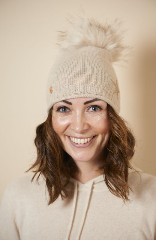 100% sustainable cashmere roll edge beanie with diamanté star and faux fur pom