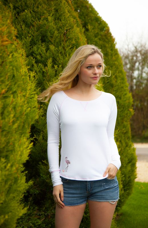 White long sleeved t-shirt with flamingo embellishment